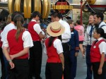 Disneyland Cast Members gathering in preparation for an upcoming parade.