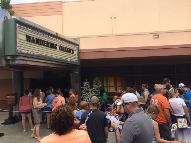 Guests waiting an uncertain time to pay for the privilege of ice skating in the middle of summer at Disney's Hollywood Studios. This is where the additional track will be located. Photo by J. Jeff Kober.