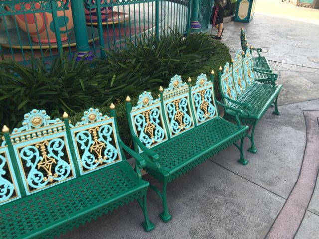 Example of benches near the Mad Tea Party in Fantasyland at Tokyo Disneyland. This is a missing element at the Magic Kingdom. Photo by J. Jeff Kober