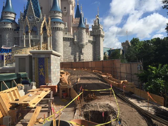 The ramp leading to Cinderella Castle appears to be undergoing some remodeling, perhaps to make it easier to ascend in its incline. Photo by J. Jeff Kober.