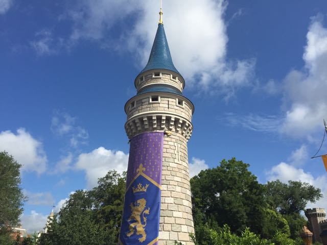New turrets file alongside Cinderella Castle, providing entertainment support and adding to the decor of the area. Photo by J. Jeff Kober.