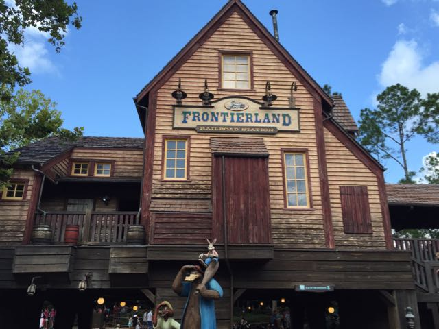 A shot of the Frontierland Railroad Station. Sitting high above the entrance to Splash Mountain, its color palette and aged look makes a great segue between the two mountains.Photo by J. Jeff Kober.