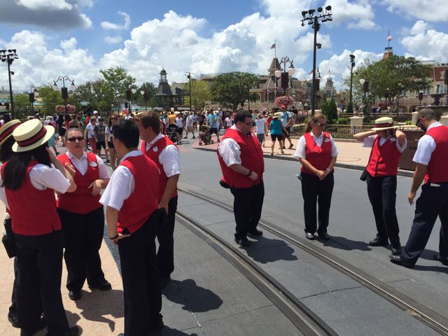 Returning to Central Plaza we see that the operations team now have red vests instead of the customary blue. The red vests are similar to what operations personnel wear at Disneyland. Photo by J. Jeff Kober.