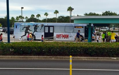 Disney motorcoach showcasing Antman. It's no Jurassic World, but it's making a good profit, especially in light of the fact that it only cost $130 million or so to make. Photo by J. Jeff Kober.