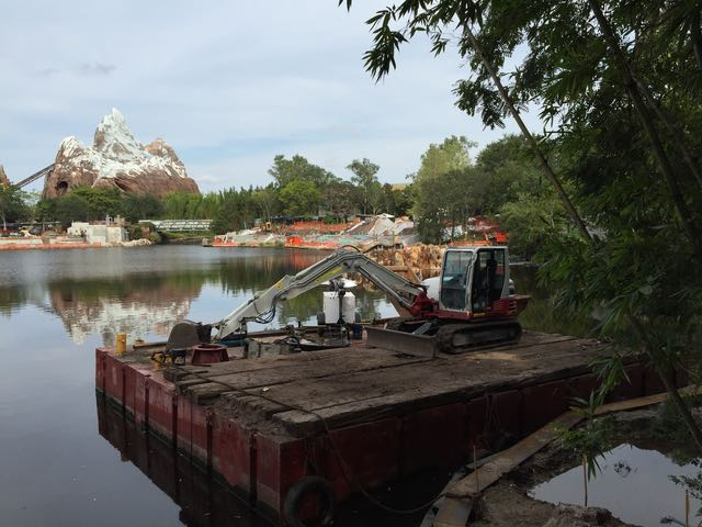 Construction barge and lake. Photo by J. Jeff Kober.