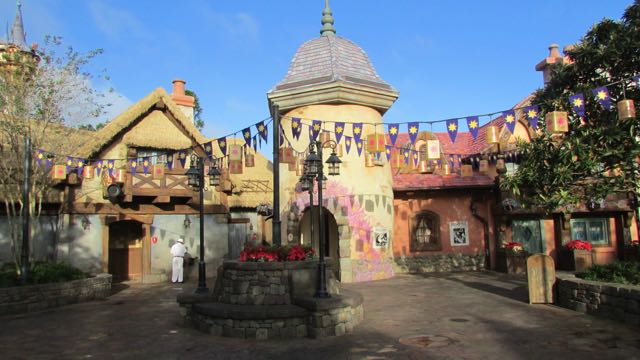 A plaza themed to Tangled brings guests to one end of Fantasyland. Photo by J. Jeff Kober.