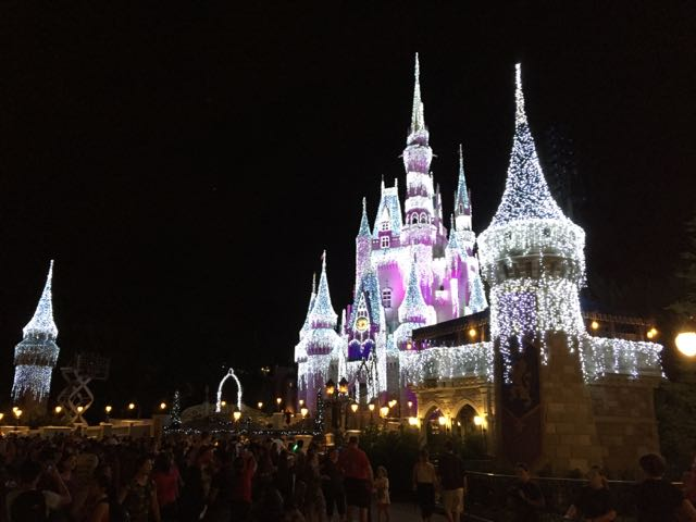 The centerpiece of the Christmas holidays is the winter lights on Cinderella Castle. Photo by J. Jeff Kober.