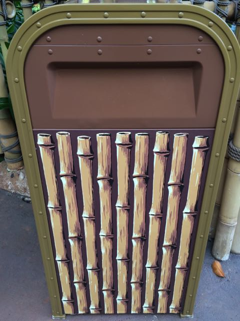 Most of Adventureland around Jungle Cruise uses this trash receptacle. Photo by J. Jeff Kober.