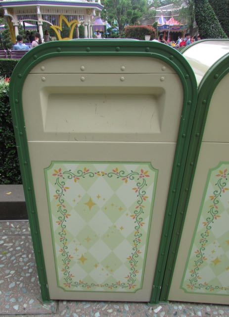 These trash receptacles greet guests visiting Fantasy Gardens in Fantasyland. Photo by J. Jeff Kober.