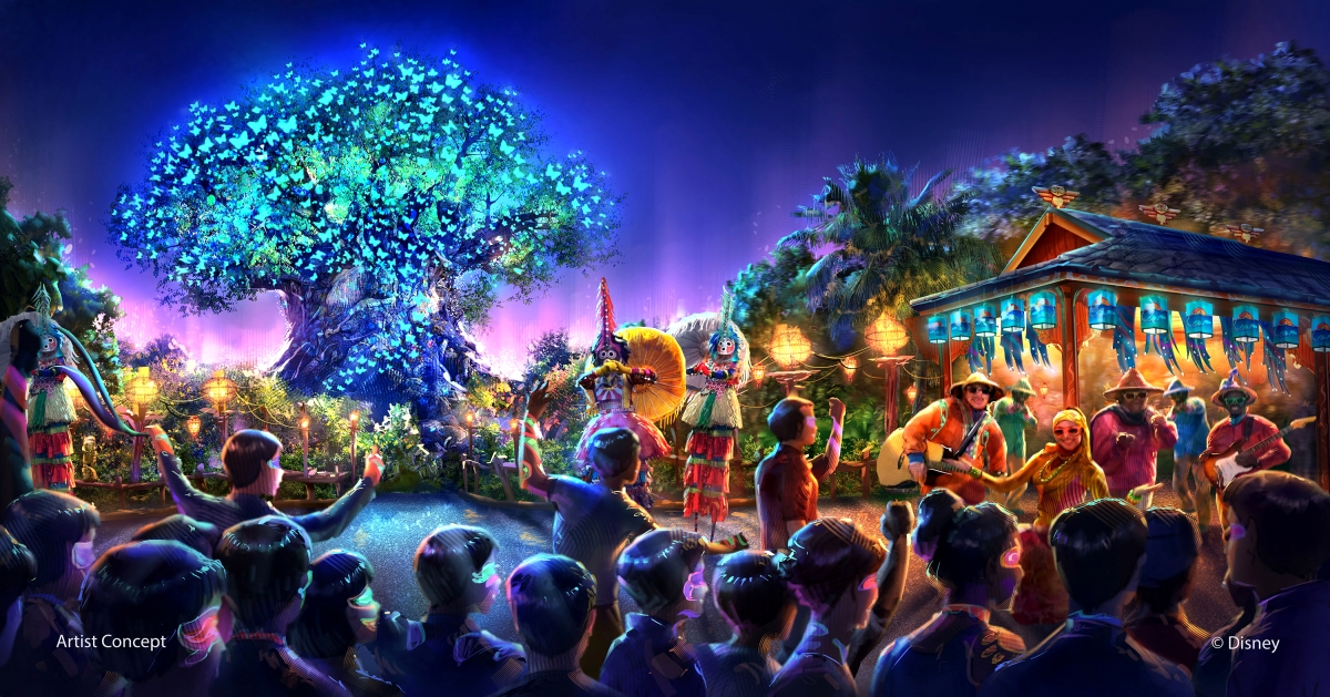 This picture for some reason reminds me a little of the Tapestry of Nations procession during the Epcot Millennium celebration. Not in terms of the entertainment offering, but the sense of things happening all around the park as dusk settles.