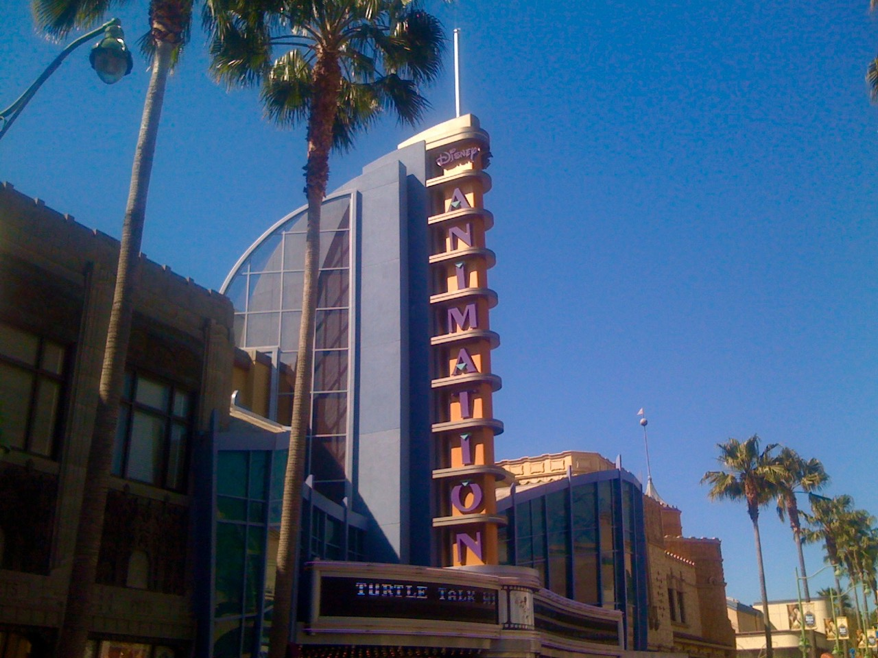 The bright California Sign highlights the Disney Animation Academy, but it's the beautifully rendered drawings shown on the screens therein that really attracts guests. Photo by J. Jeff Kober.