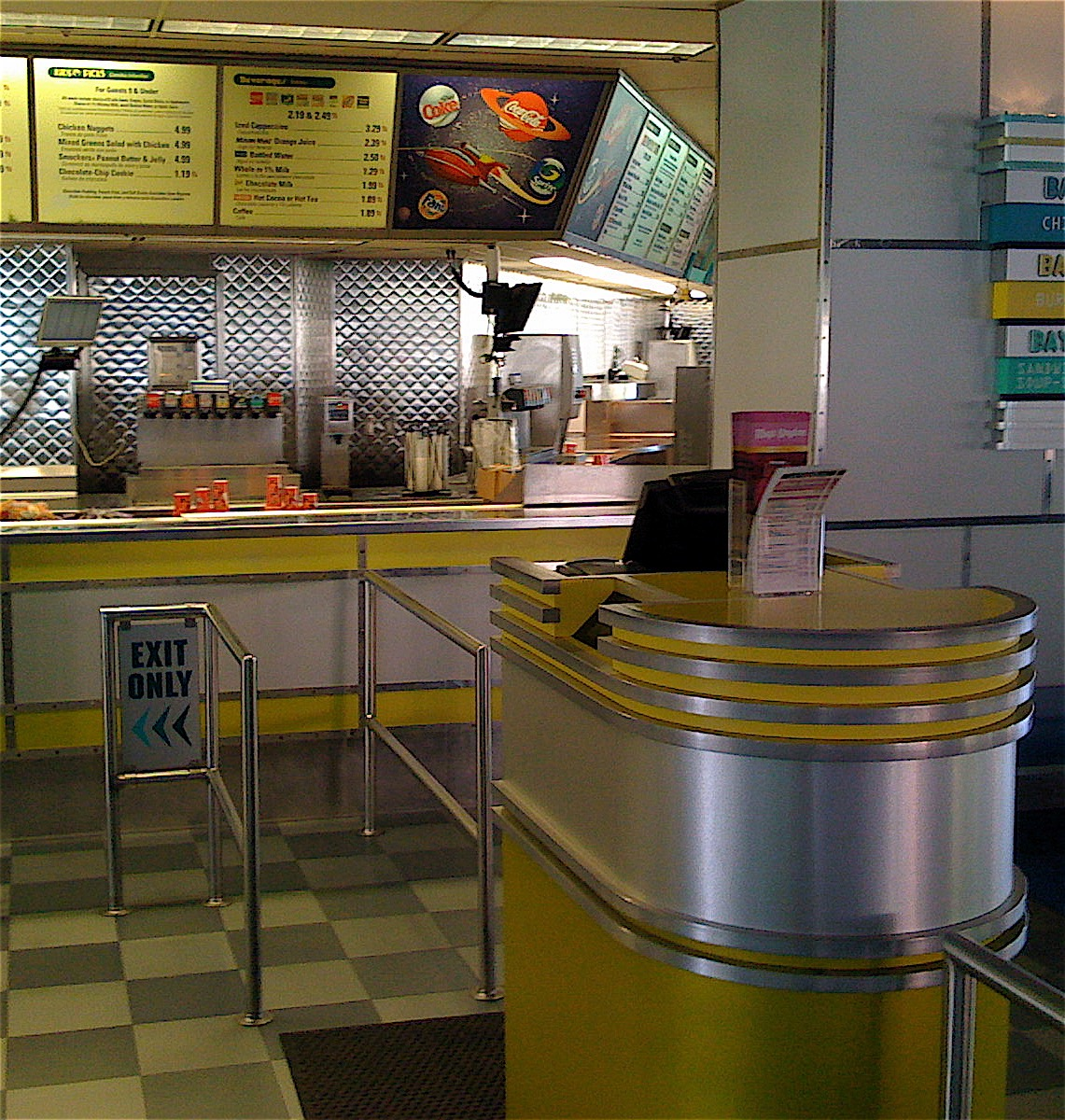 Note that quees form on each side of the register and then are funneled in to one pick up line. Photo by J. Jeff Kober.