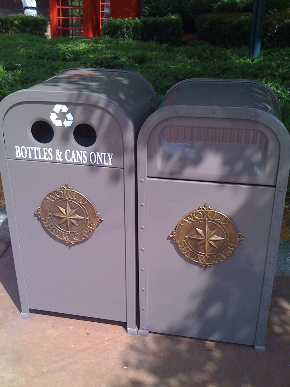 Trash receptacles at World Showcase, Epcot. Photo by J. Jeff Kober.