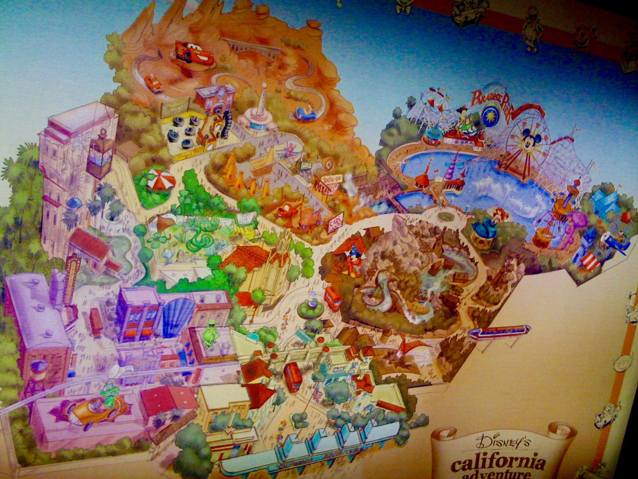This park map outlines the Disney California Adventure of today.