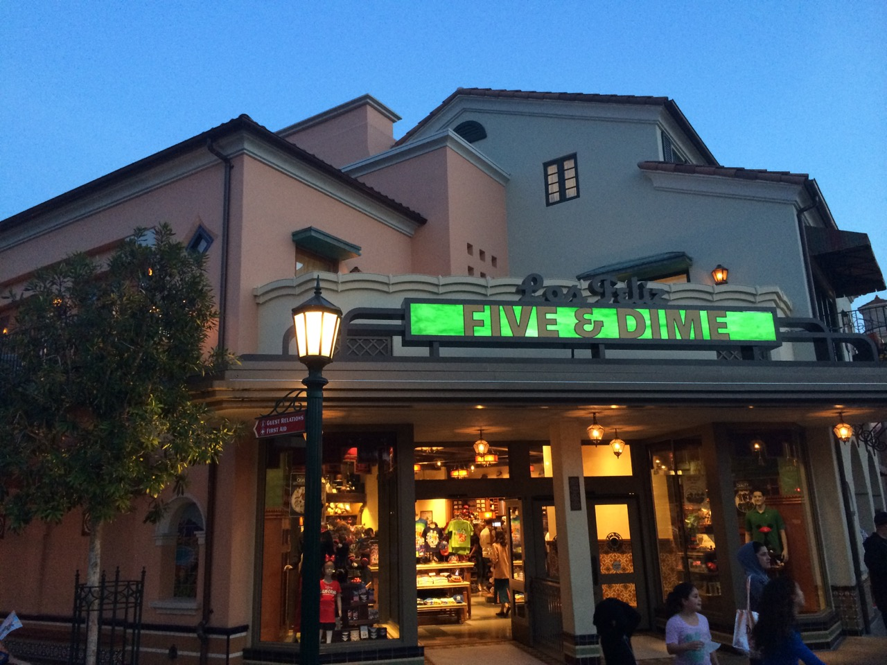 One of the best times to be in the park is evening, as is evidenced here on Buena Vista Street. Photo by J. Jeff Kober.