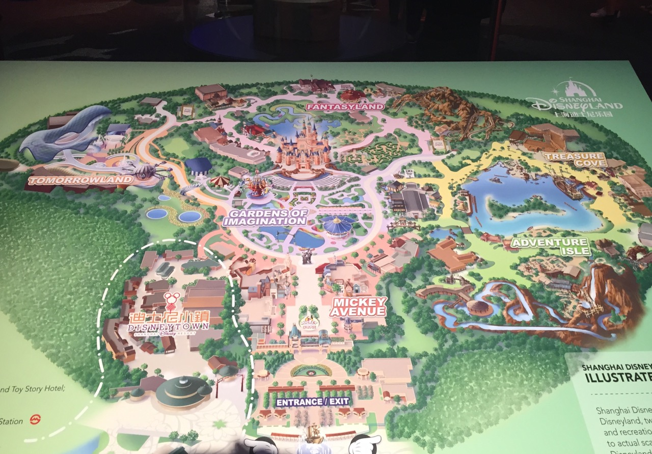 D23 displayed this map of Shanghai Disneyland in anticipation of its upcoming opening. Photo by J. Jeff Kober.