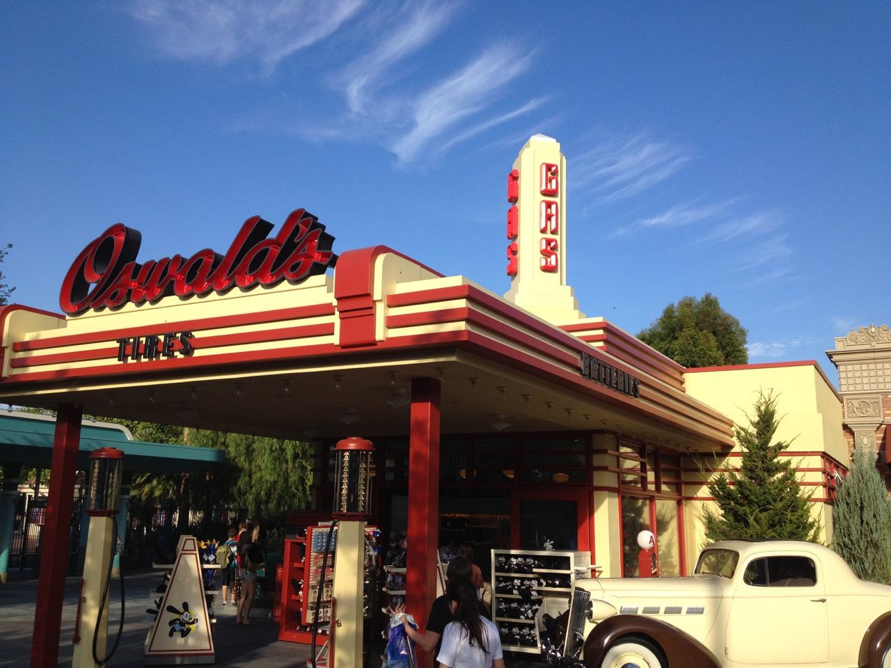 Oswald's Super Service sets the tone for Buena Vista Street, which acknowledges the very early days of Walt and Roy when they first came to California. Photo by J. Jeff Kober.