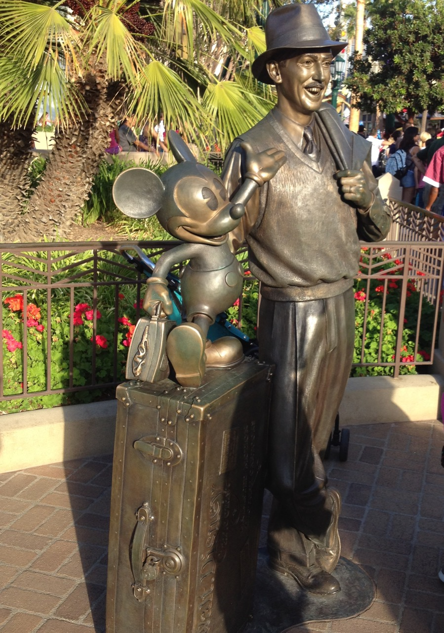 "The caption for this Walt and Mickey statue is Story Tellers. The quotation accompanying it is from Walt: ""We are just getting started..."" It's appropriate for Disney California Adventure. Photo by J. Jeff Kober."