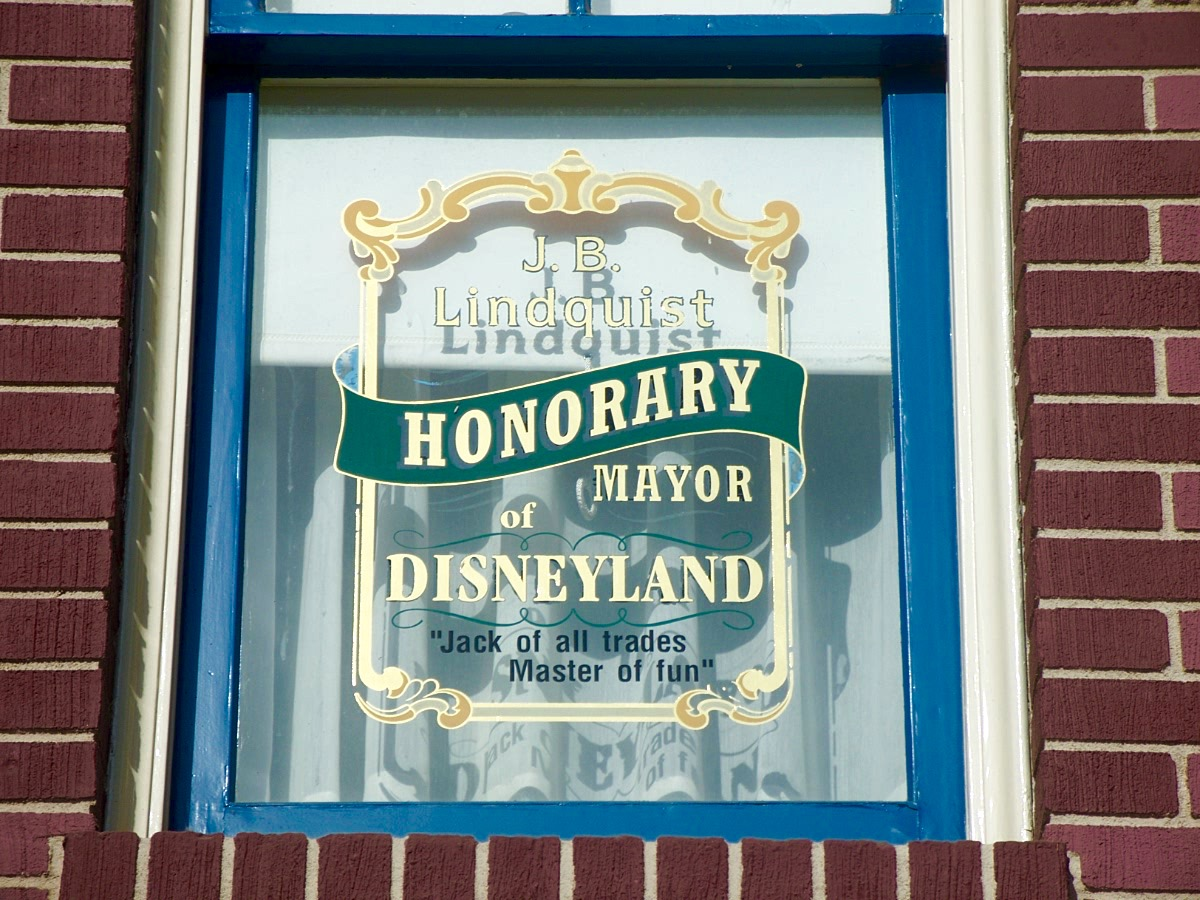 "This honorary window at Disneyland celebrates Jack's contribution to the park. Note that he was a ""Jack of all trades, Master of fun."" Photo by J. Jeff Kober."