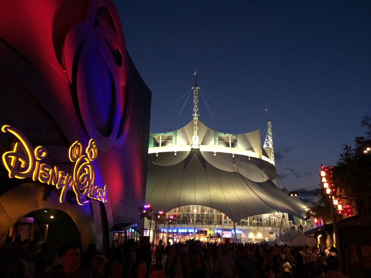 The anchors of Downtown Disney on the West Side--Cirque du Soleil and DisneyQuest. Photo by J. Jeff Kober.