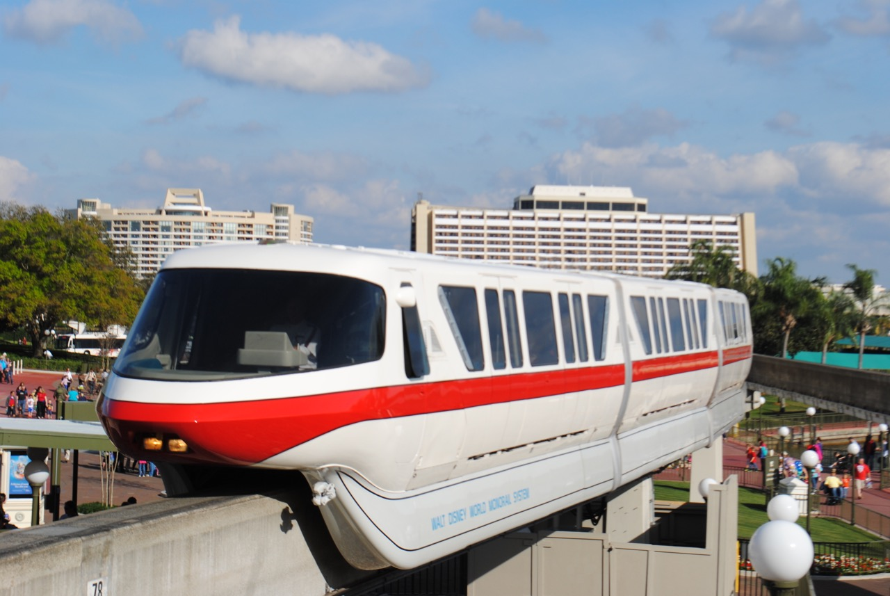 Monorail Red entering the express side of the MK station. Photo by J. Jeff Kober.
