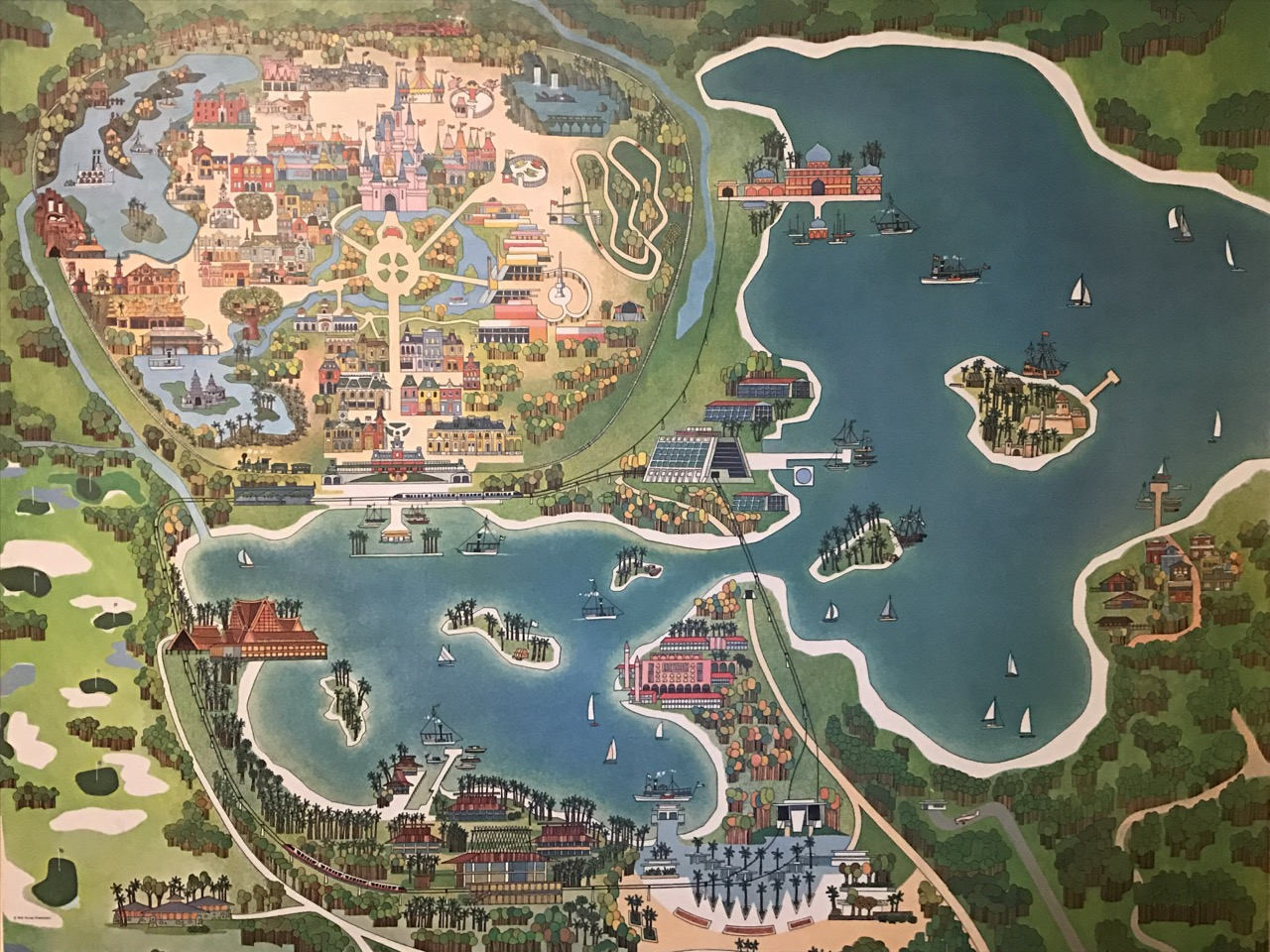 A map of what the Walt Disney World property would become as envisioned around opening in 1971