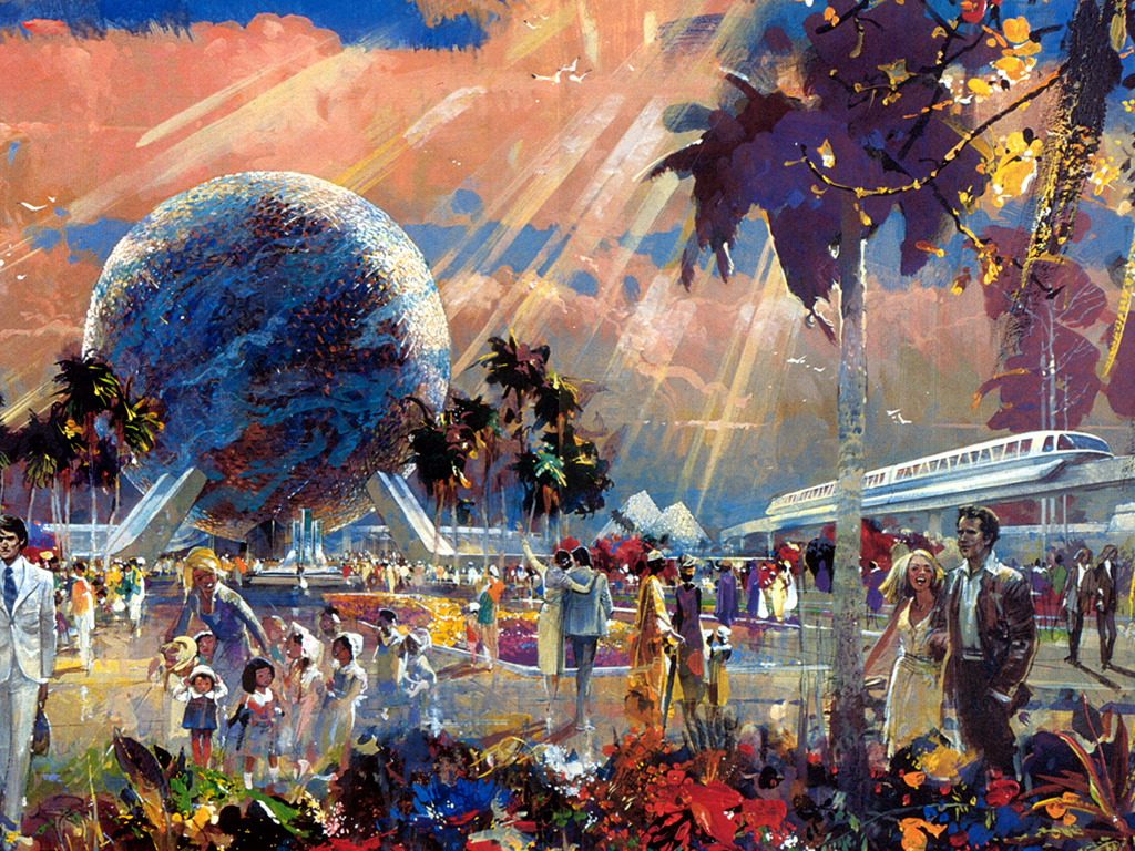 Herb Ryman depiction of entering Epcot and visiting Spaceship Earth. Beautiful!